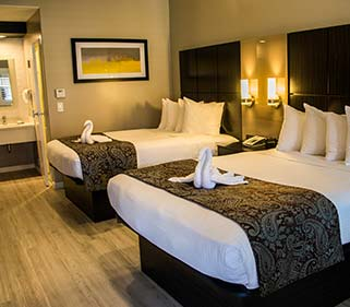 Spacious guestrooms in California Hotel